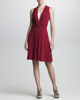 Armani Collezioni Plunging-Neckline Jersey Cocktail Dress