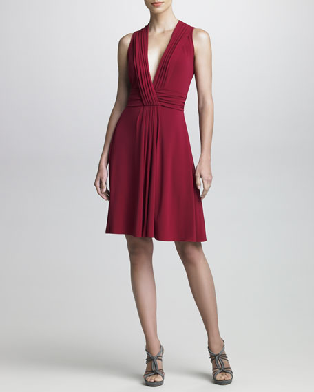 Plunging-Neckline Jersey Cocktail Dress