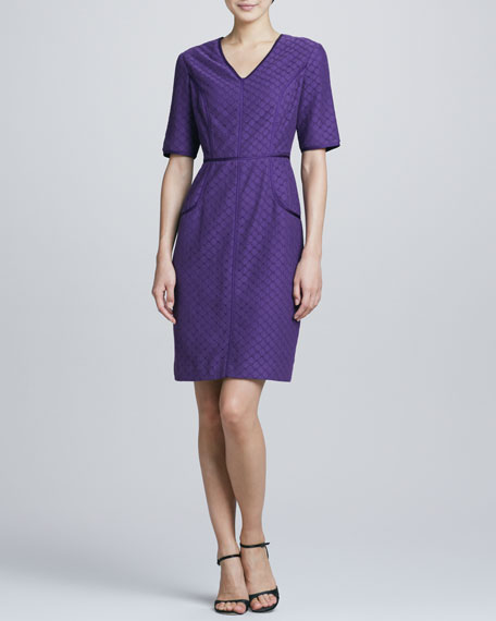 Bigio Collection V-Neck Eyelet-Lace Shift Dress