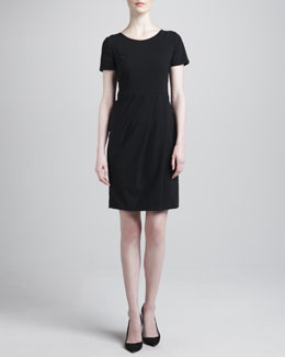 Armani Collezioni Pleated-Skirt Featherweight Wool Dress, Black