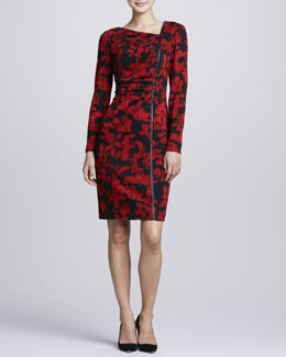 Kay Unger New York Asymmetric Printed Long-Sleeve Dress