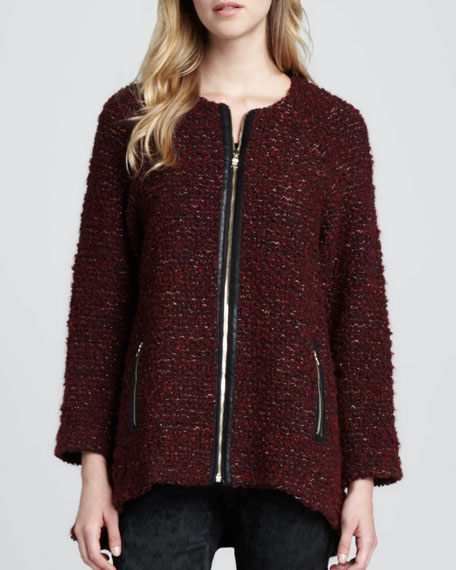 Jeannie Leather-Trim Tweed Coat
