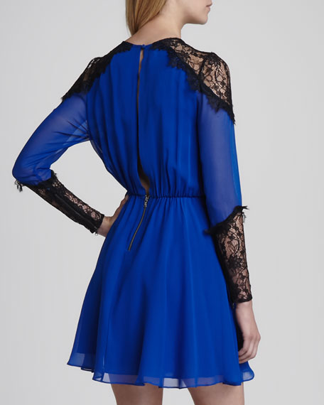 Dany Lace-Shoulder Silk Dress