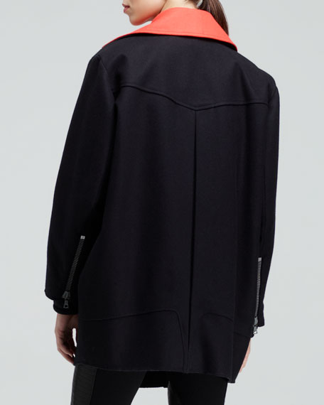Turner Contrast-Collar Zip Coat