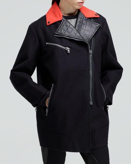 Turner Contrast-Collar Zip Coat