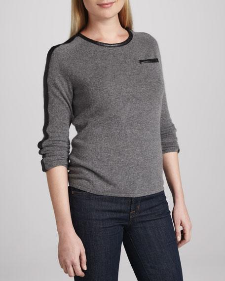 Leather-Trim Cashmere Sweater