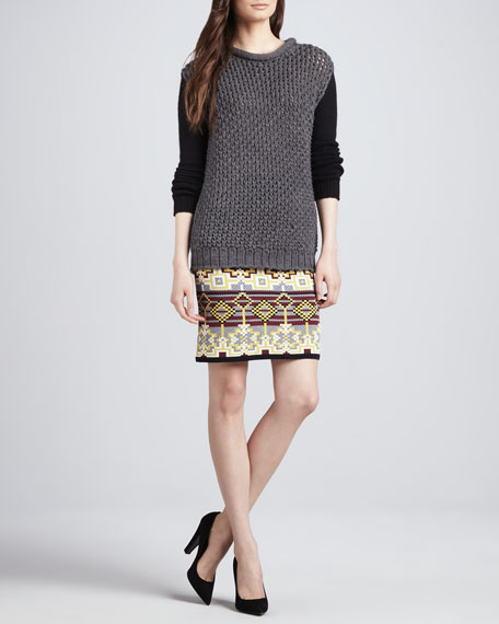 Pixelated Fair Isle Knit Skirt