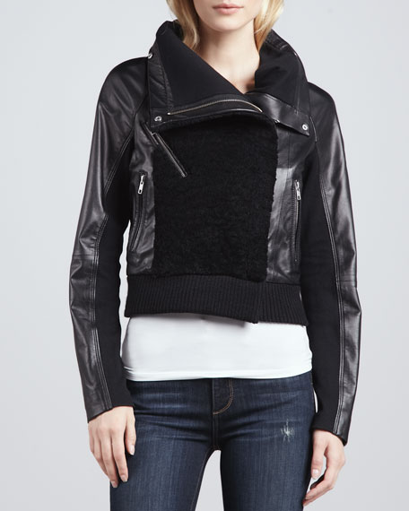 Shearling-Front Motorcycle Jacket