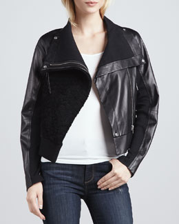 Cut25 Shearling-Front Motorcycle Jacket