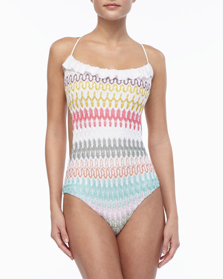 Ruffle-Trim Patterned One-Piece