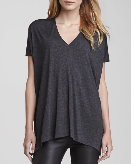 Short-Sleeve V-Neck Tee, Dark Gray