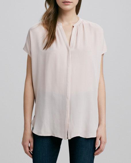 Cap-Sleeve Placket Silk Blouse, New Buff