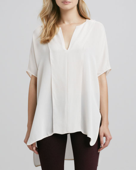 Double-Panel V-Neck Blouse, Powder