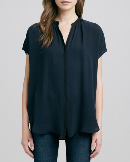 Cap-Sleeve Contrast Placket Silk Blouse, Coastal/Black