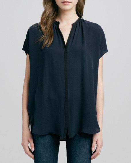 Cap-Sleeve Contrast Placket Silk Blouse, Coastal/Black