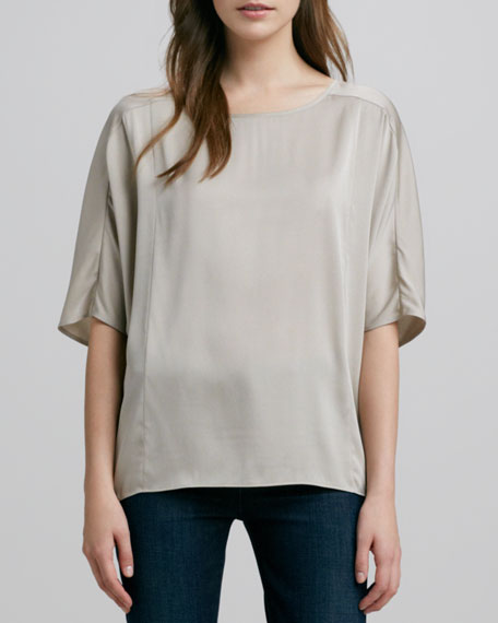 Sculpted Charmeuse Blouse, Almond