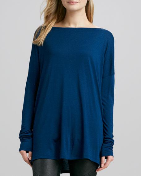 Boat-Neck Drop-Shoulder Tee, Blue Jay