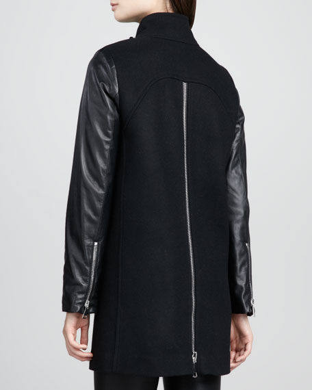 Leather-Sleeve Zip Swing Coat
