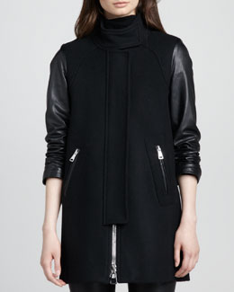 Milly Leather-Sleeve Zip Swing Coat