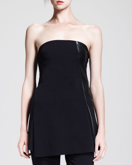Reed Krakoff Strapless Leather-Panel Tunic