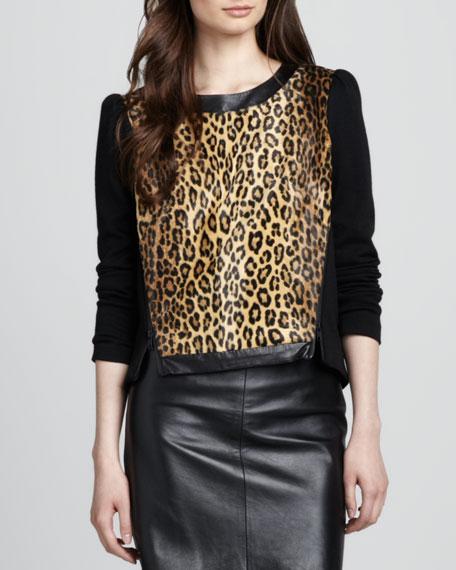 Leather-Trim Leopard-Print Sweatshirt