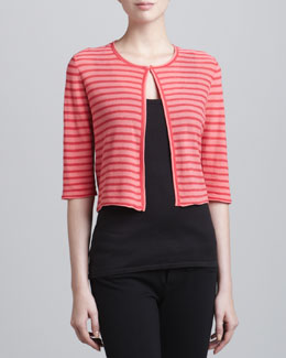 Armani Collezioni Cropped Striped Knit Cardigan