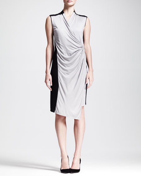Colorblock Draped Jersey Dress