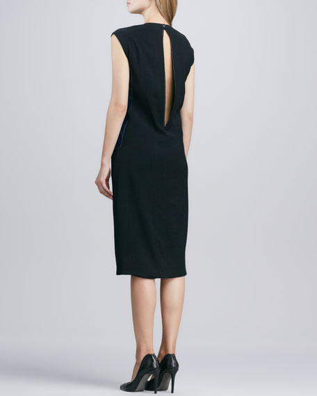 Lucent Seamed Keyhole-Back Combo Dress