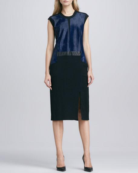 Lucent Seamed Keyhole-Back Combo Dress