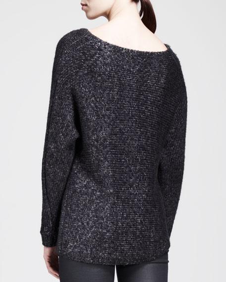 Flecked Metallic Asymmetric Sweater