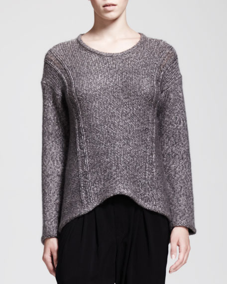 Flecked Arced Pullover Sweater
