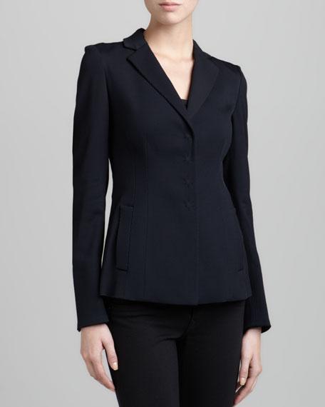 Hidden-Snap Wool-Blend Jacket