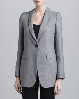 Armani Collezioni Birdseye One-Button Jacket