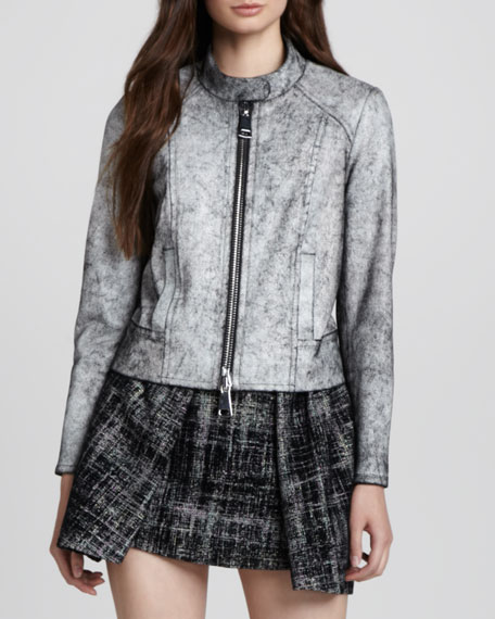 Marbled Leather Motorcycle Jacket
