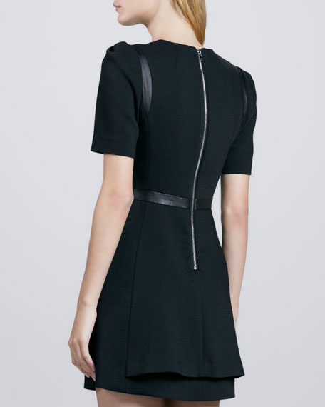 Leather-Inset Swing Dress