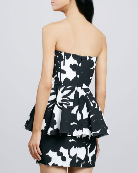 Printed Strapless Peplum Dress