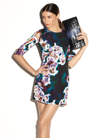 Milly Printed Sheer-Inset Dress