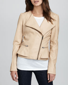 Cusp by Neiman Marcus Faux-Leather Peplum Jacket