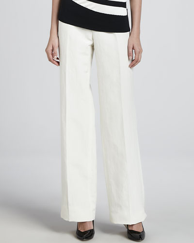 Armani Collezioni Linen-Blend Wide-Leg Pants, Off White