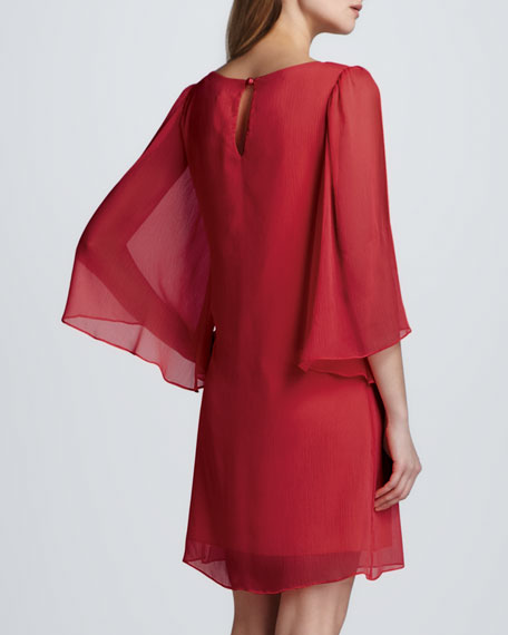 Odette Flutter-Sleeve Dress, Cherry