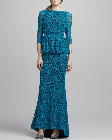 Regina Lace Peplum Gown, Teal