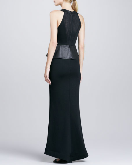 Karen Leather-Peplum Ponte Gown