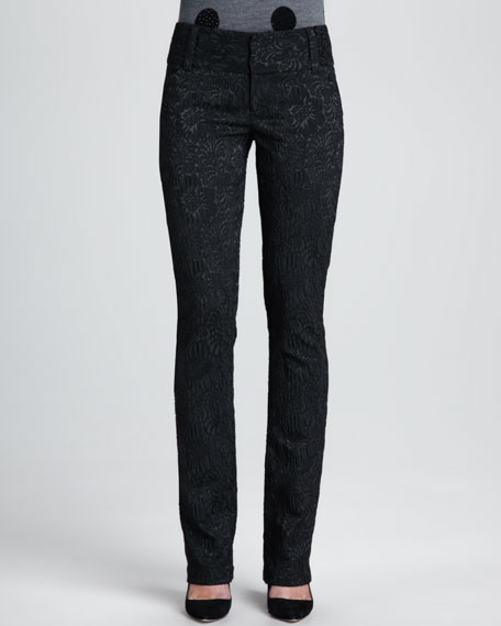 Andrew Floral-Jacquard Slim Pants