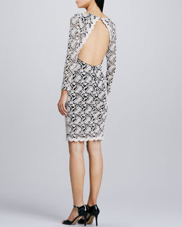 Alice + Olivia Open-Back Fitted Lace Dress
