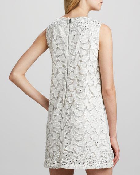 Crystal-Embellished Jacquard Shift Dress