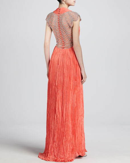 Ortensia Pleated Chiffon Gown, Coral