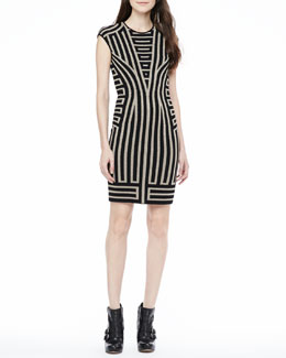 RVN NYC Cap-Sleeve Deco-Stripe Dress