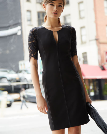 Lace-Sleeve Fitted Dress