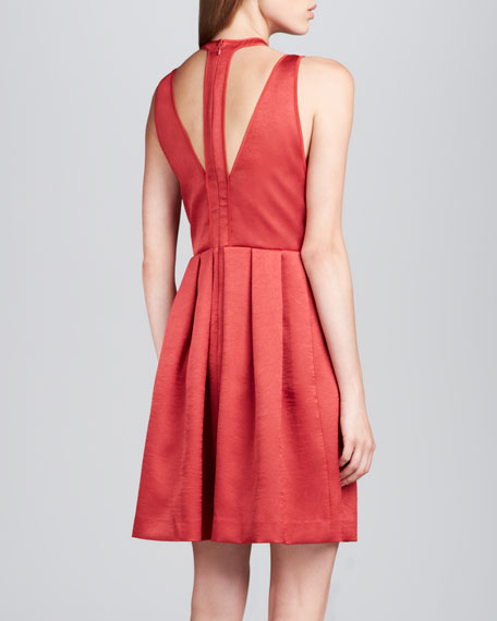 Pleated Satin Cutout Dress