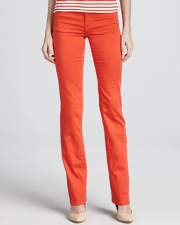 Armani Collezioni Denim Straight-Leg Trousers, Grenadine